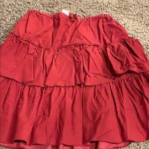 Jcrew girls red ruffle cotton skirt.